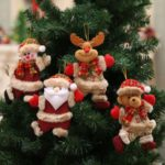 4PCs 18cm Christmas Tree Ornaments Hanging Santa/Snowman/Elk/Bear Dolls