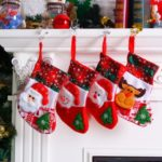4PCs 25cm Plaid Snowflake Santa Claus/Snowman/Elk Christmas Stockings