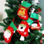 4PCs Sequins Decor Christmas Stockings Gift Bag Hanging Ornaments