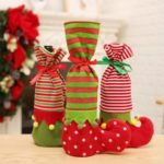 4PCs Striped Christmas Elf Boots Red Wine Bottle Covers Sleeves