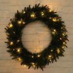 50cm Christmas Wreath LED Light Garland Wall Ornament Xmas Party Decor