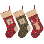 1PC 50cm Large Plaid Burlap Christmas Stocking Ornament – Red/Green