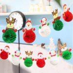 2m 6 x Santa Claus/ Elk / Snowman Paper Pom Poms Christmas Banner