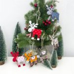 6Pcs/Pack Wooden Elk Reindeer Ornaments Christmas Tree Decor