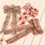 7PCs 30cm Burlap Christmas Tree Bowknots Hanging Ornaments