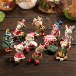 8pcs Resin Christmas Miniatures – Santa/Snowman/Reindeer/Bear/Squirrel
