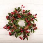 Artificial Floral Pinecone Wreath Christmas Decoration Wall Door Hanging Ornament