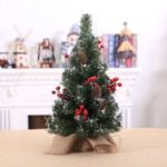 40cm Mini Artificial Christmas Tree with Pine Cone & Red Berries & Snow Decor