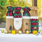4PCs Plaid Burlap Christmas Wine Bottle Cover Dress- 35 x 14cm