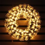 EU Plug – 40cm 3 Modes LED Artificial Christmas Wreath with Remote Control