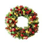 45cm Pre-Lit Artificial Christmas Wreath with LED Lights