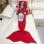 Christmas Prints Mermaid Tail Knitted Blanket