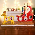 Christmas Santa Reindeer Sleigh DIY Wooden 3D Deer Cart Desktop Decoration