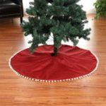 127cm Red Burlap Christmas Tree Skirt with White Cotton Ball Tassel