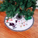 90cm Plaid White Santa Claus Christmas Tree Skirt Decor