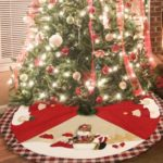 100 cm Plaid Santa Claus/Snowman Christmas Tree Skirt – Red/Green