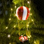 35cm Hot Air Balloon Santa Claus Christmas Tree Ornament with Light