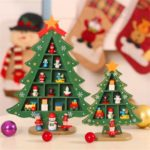 1PC 29cm Wooden Christmas Tree with Ornaments Desktop Decor