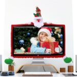 Cute Christmas 3D Cartoon Figure Non-woven Fiber Case/Cover for Computer Displayer Decor