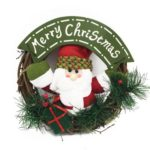 Cute Santa/Snowman/Elk Artificial Christmas Wreath Hanging Ornament
