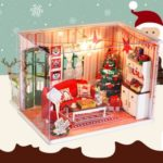 DIY Miniature 3D Christmas Theme Wooden Doll House with LED Light & Music