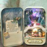 DIY Snow Dream Theater Box Dollhouse Miniature Christmas House with Lights