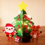 33cm Mini DIY Felt Christmas Tree with String Light Santa Claus Reindeer