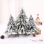 Flocked Artificial Christmas Tree Wooden Base Cedar Tree Home Decoration