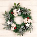 Flocked Leaves and Berries Wreath Christmas Decoration Wall Door Hanging Ornament