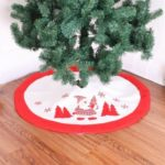 90cm Embroidery Santa Claus Christmas Tree Skirt – Red White