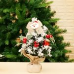 30cm Mini Artificial Flocked Christmas Tree with Red Berry Ornaments Decoration