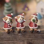 3PCs Resin Christmas Miniature Figures – Santa Claus/Cat/Dog/Bear