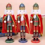1PC 38cm Nutcracker King with Sceptre Cloak Wooden Figure Christmas Decor