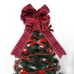 47 x 25cm Red Plaid Christmas Tree Bowknot Topper Decoration