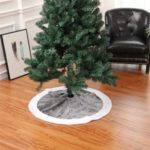 90cm Faux Fur Embroidery Christmas Tree Skirt – Silver White