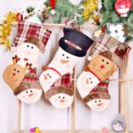 1PC 46cm Santa Claus / Snowman / Elk Plaid Christmas Stocking