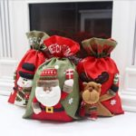 Solid Santa Clause / Snowman / Elk Pattern Christmas Burlap Gift Bag