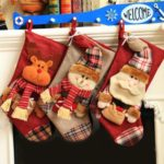 1PC 46cm Plaid Santa Claus / Snowman / Elk Christmas Stocking