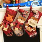 1PC 46cm Plaid Santa Claus / Snowman / Elk Christmas Stocking