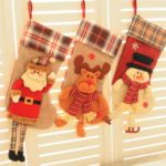1PC 50cm Large Santa Claus / Snowman / Elk Plaid Christmas Stocking
