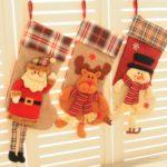 1PC 50cm Large Santa Claus / Snowman / Elk Plaid Christmas Stocking