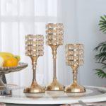 Sparkly Cylindrical Crystal Candle Holder Christmas Wedding Home Decor