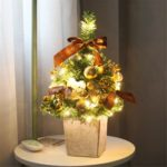 45cm LED Lighted Artificial Christmas Tree with Ornaments Tabletop Decoration