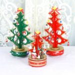 1PC Wooden Christmas Tree Carousel Music Box with Ornaments