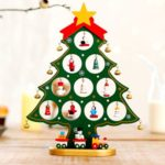 1PC 27cm Wooden Christmas Tree with Bells & Ornaments