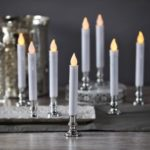 1 Pair LED Flickering Flameless LED Taper Candles with Base
