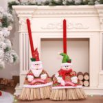 2PCs Christmas Festival Brooms Santa Claus and Snowman