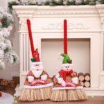 2PCs Christmas Festival Brooms Santa Claus and Snowman