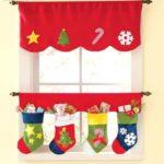 2PCs Christmas Style Door / Window Decoration Stocking Curtain Valance