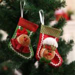 2pcs 14cm Mini Gingerbread Man Hanging Christmas Stockings with Solid Patterns